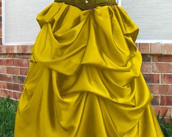SALE Golden yellow Satin Steampunk Victorian Belle Bustle Pick-up Skirt