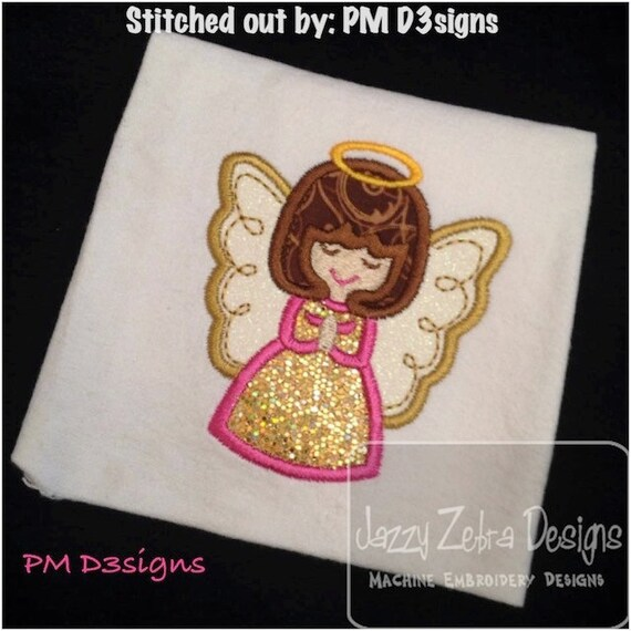 Angel Applique embroidery Design - angel Appliqué Design - christmas Applique Design