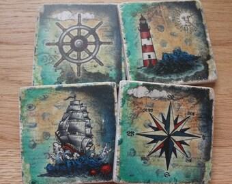 Set of 4 Tumbled Marble Tile Coasters - Nautical