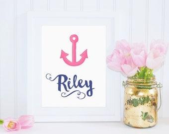 DIGITAL Anchor Name Print Monogram Wall Art, Navy Blue & Pink Nautical Girl Nursery, Nautical Wall Decor, Beach Baby Print - ANY SIZE