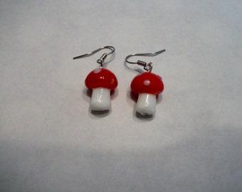 Lampwork toadstool earrings