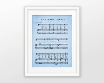 Twinkle Twinkle Little Star Nursery Print - Nursery Rhyme Art - Blue Music Sheet Print - Blue Nursery Decor - Nursery Rhyme Art Poster
