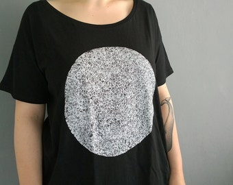 white circle - hand screen printed shirt, one size fits many