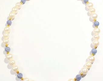 18k Gold vermeil Tanzanite & White Pearl Necklace, Blue Tanzanite Necklace, 18k Gold Necklace, June Birthstone, December Birthstone