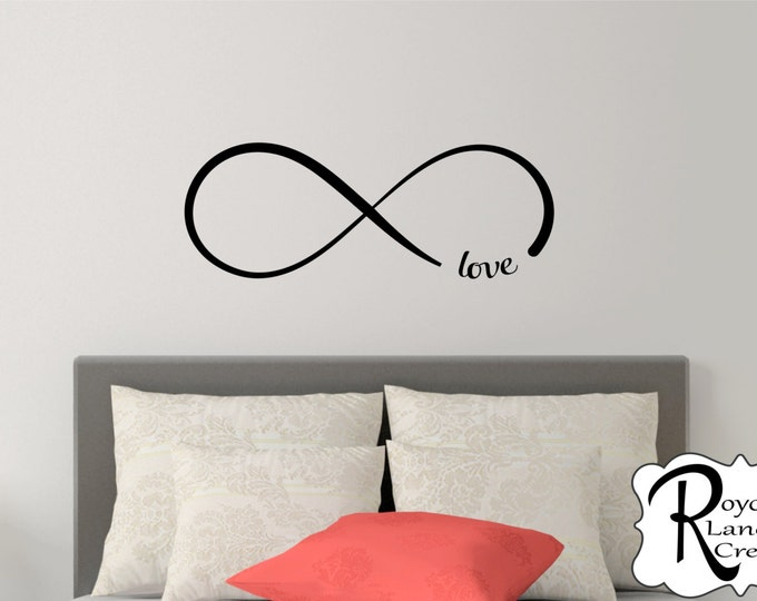 Infinity Decal -Bedroom Wall Decal - Infinity Wall Decal with Love Infinity Love Bedroom Wall Decal Infinity Wall Art