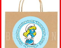 Smurfette Smurfs Personalized Birthday Party Favor Stickers Custom Gift Goody Treat Bag Tags Label Labels Sticker