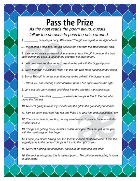 printable customizable baby shower activity pass the prize instant