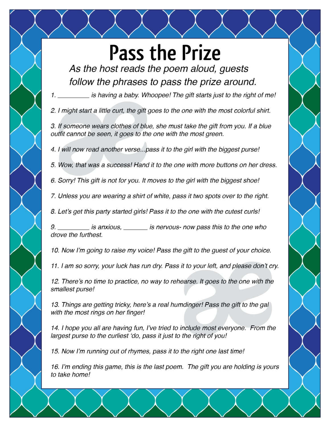 printable customizable baby shower activity pass the prize