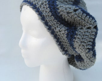 grey crochet hat, grey and blue slouchy , beret , crochet tam , chevron  hat