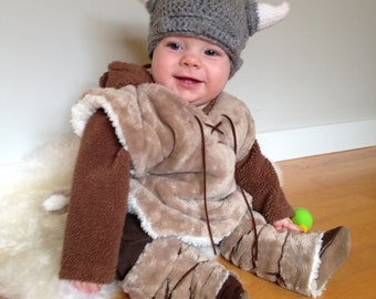 Baby Viking Hat -  Crochet Viking Hat - Viking Helmet - Crocheted Viking Helmet - Viking hat for Adult - Viking Hat for baby -Viking Costume