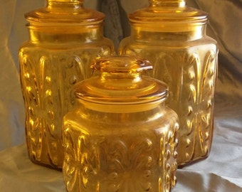 Large Vintage Amber Apothecary Jar