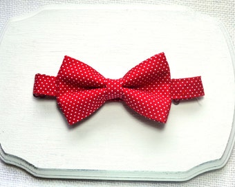 Red with white dot Bow tie For Boy/Baby/Teen/Adult/With Adjustable strap/clipon