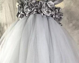 Grey Silver Flower girl dress Lace chiffton Tutu dress Wedding dress Birthday dress Newborn to 8T