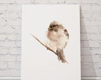 Watercolor bird art print, Brown home wall decor, Sparrow painting giclee poster, Gemälde mit spatzen