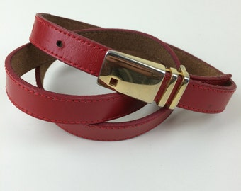 red leather skinny belt made in Spain 80's