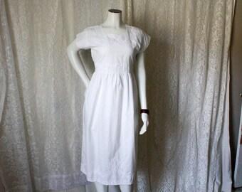 SALE - White Embroidered Prairie Dress - M/L