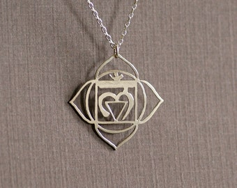Root Chakra - Hand Cut Sterling Silver Pendant, Necklace, 1st Chakra, Muladhara, Made to Order