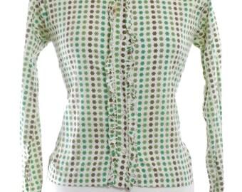 Vintage 1960's Green Floral Grandad Shirt 14  - www.brickvintage.com