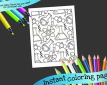 science printable coloring page test tubes atoms molecules grown