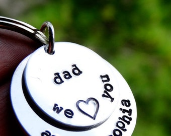 Personalized Dad Keychain Hand Stamped Grandpa Keychain Gift for Dad from kids Father's Day Gift Keychain