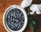 Valentine's Day Chalkboard home decor, saved by grace, bible verse art, scripture gift, Ooak collaboration