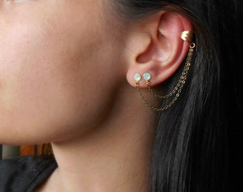 Stud Ear Cuff Earrings, Ear Cuff Earrings with Swarovski crystals,Double piercing