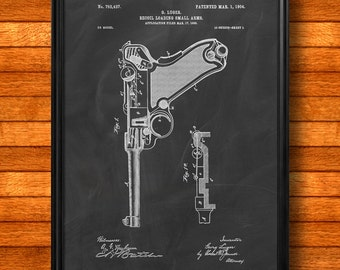 "Retro 1900 ""Luger Pistol Parabellum"" by Luger, Vintage Patent Illustration, Art Print Poster, Wall Art, Home Decor, Gun, Handgun, Gift 884"