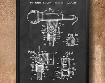 "Retro  ""Microphone Mount"" Vintage Patent Illustration, Art Print Poster, Wall Art, Home Decor, Radio Announcer, Speaker, Performer, Gift 454"