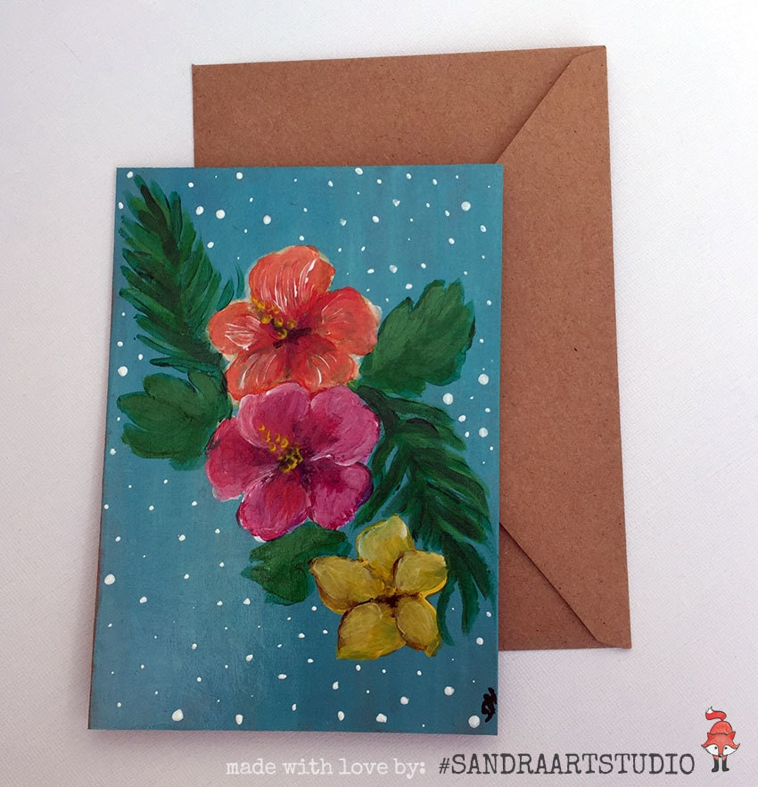 Blanco greeting card hibiscus flowers hand painted on for Painted christmas cards