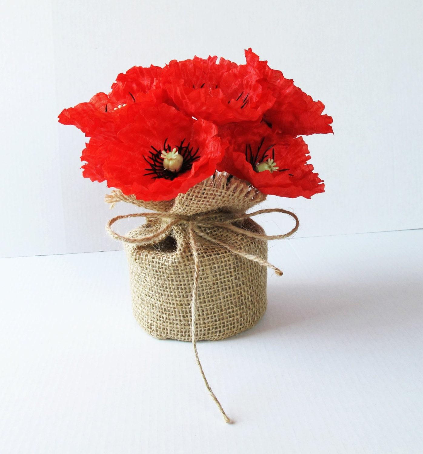 Poppies table decor red black poppy decoration silk flowers for Artificial flower for decoration