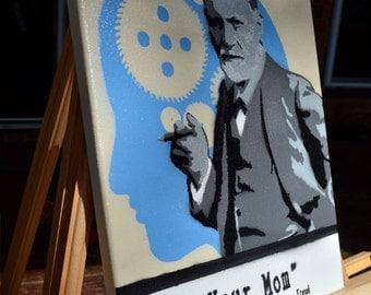 "Sigmund Freud ""Your Mom"" - Portrait - Psychology - Graffiti Art - Spray Paint - Mad Scientist Collection"