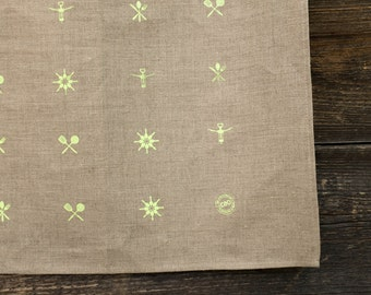 100% linen tea towel, brown with green lime pattern