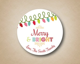 Merry & Bright Christmas Gift Labels Personalized Christmas Stickers Custom Holiday Gift Tag Bright Modern Christmas Sticker Christmas Light
