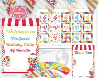 Sweet Candy Shop - Red editable printable party decoration package - INSTANT DOWNLOAD - A4 & LETTER