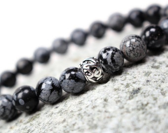 Sterling Silver Snowflake Obsidian Bracelet - 925 Sterling Silver Gemstone Bracelet, Black and White Jewelry, Gift Idea