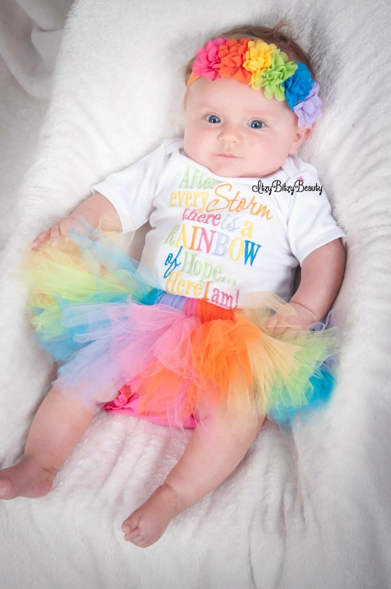 Rainbow Baby Tutu Skirt, Bodysuit And Headband