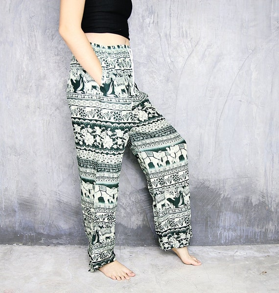 White Green Hippie Pants Paisley And Elephant By Chic2Boho