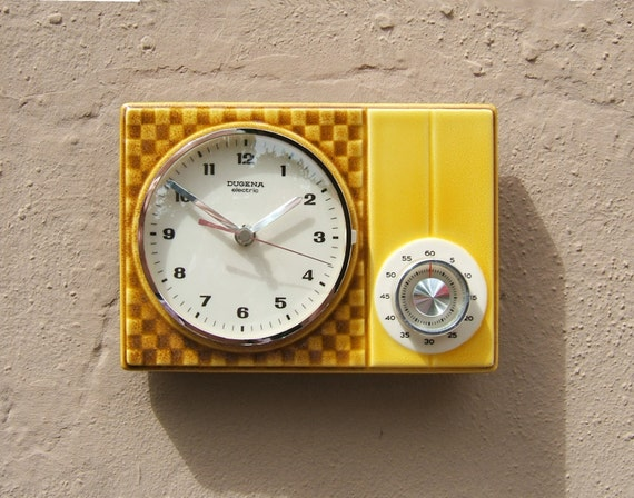 50s Kitchen Clock / Wall Clock With Cooking Alarm Clock