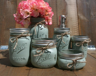 6 pc Mason Jar Bathroom Set. You CHOOSE YOUR COLORS! Custom-Painted-Toothbrush Holder -Soap Dispenser- Qtip- Cotton Ball- Rustic!