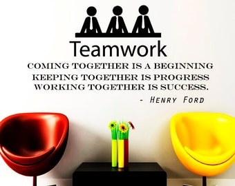"Wall Decals Teamwork Quote Decal Vinyl Sticker Henry Ford Motivation Quote ""Coming Together is a Beginning"" Office Decor Window NA325"