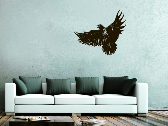 Wall decals bird eagle decal vinyl sticker home art bedroom for Eagle wall mural