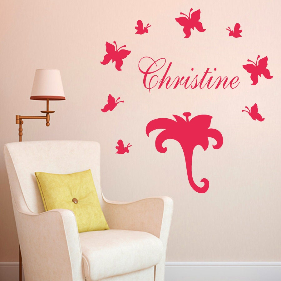 wall decal name personalized custom decals vinyl sticker art. Black Bedroom Furniture Sets. Home Design Ideas