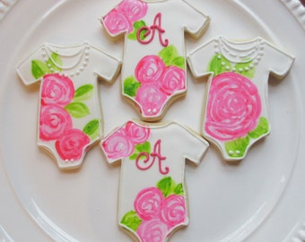 Baby Girl Shower Cookies-Hand-Painted-Personalized-One Dozen