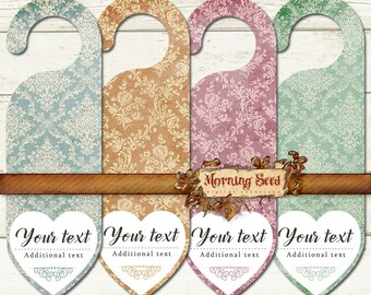 Room service, Door hanger template, Damask tag for Parties Wedding Clothing, Printable download
