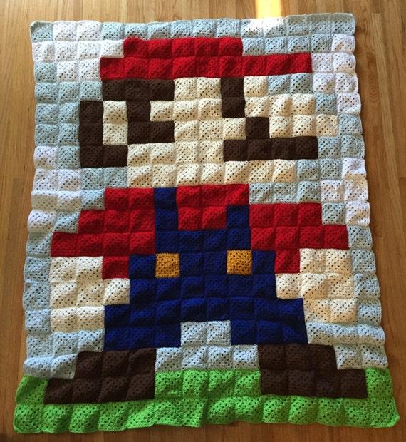Mario Blanket Crochet Pattern Free : 8-Bit Crochet Mario Blanket by AMHCrochet on Etsy