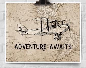 Adventure Awaits Print, Vintage Airplane Decor, Adventure Awaits Map Wall Decor, Vintage Map Art, Gift for Pilots, Travel Theme
