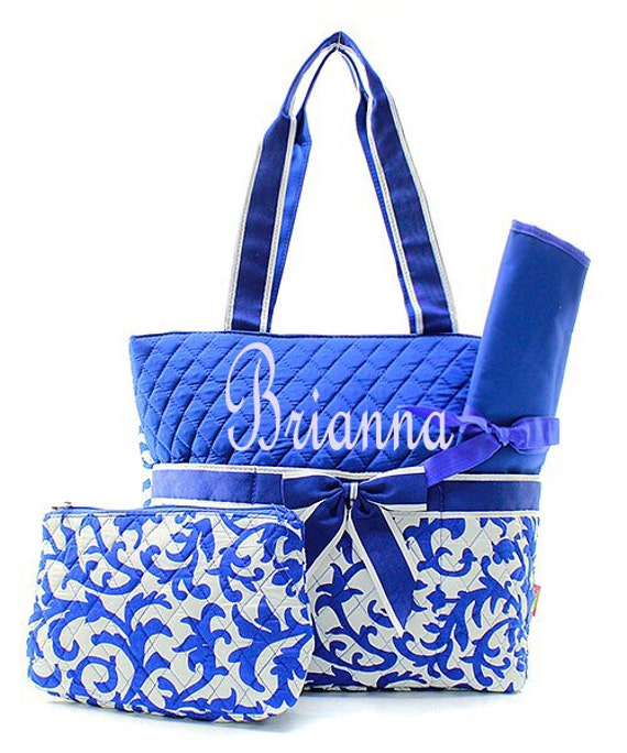 ... Diaper Bag Personalizedmonogramed Royal blue Damask Diaper bag