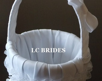 Rhinestone Brooch Flower Girl Basket Organza and Satin