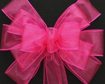 Fuchsia Wedding Pew Bow - Church Pew Decorations, Wedding Aisle Decorations, Wedding Ceremony Bow, Wedding Chair Bows, Hot Pink Wedding Bows
