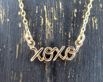 XOXO necklace, Hugs and kisses necklace, gift for her, anniversary gift, Valentines day gift, birthday present, gold filled chain